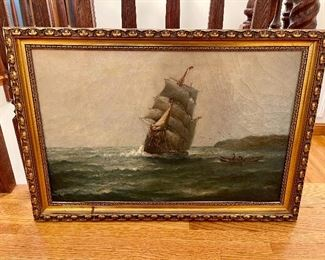 Original JJ McAuliffe oil painting - 1914 Outword Bound