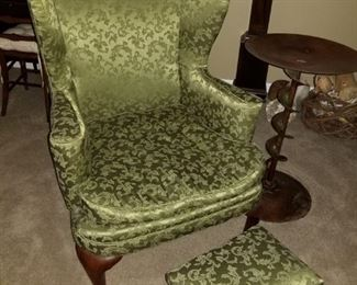 Wing back chair with footstool
