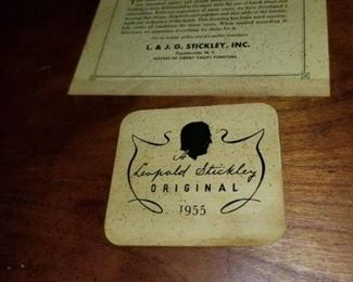 Labels on bottom of Stickley chair