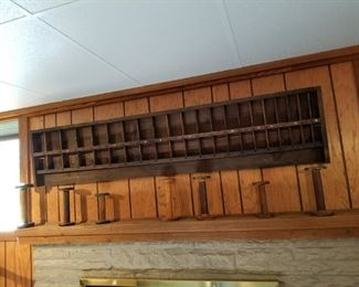 Old wood spools & typesetters box - measures about 6' long!
