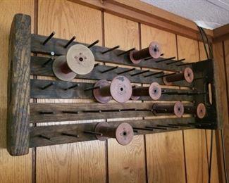 Wood spools & spool holder