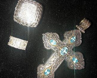 Diamond & Platinum Ring.                                                          John Hardy & Constantine Jewelry Pieces