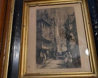 Lithograph of Cathedral Lane
