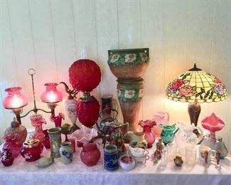 Satin Glass Lamp, Tiffany Vase, Weller Vase, Cranberry Glass, Majolica, Roseville Jardiniere & More
