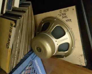 12 Inch Olson Bass Speaker, Crates filled with Records.