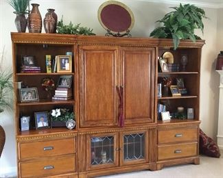 Wonderful furniture wall unit, 3 pieces, leaded glass at bottom of middle cabinet - 2 shelving units with storage along with great decor