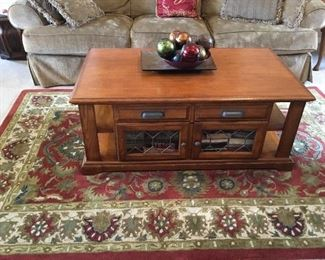 Coffee Table - lid raises and can be used as small table - lots of storage. Rug also for sale.