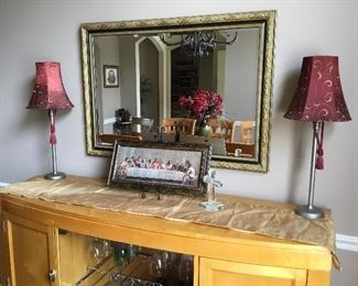 Mirror and set of matching lamps