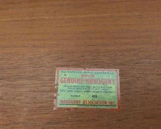 Vintage label in antique dresser