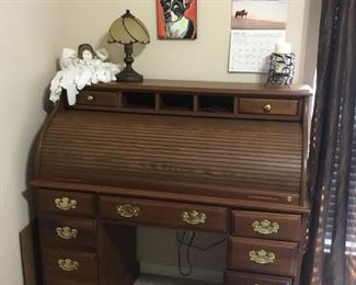 Roll top desk, decor & Harley clock