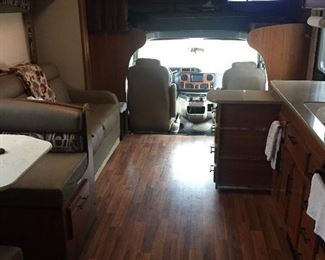 Inside of 2017 Jayco Greyhawk 29MV, Ford V10 motor, and12,500 miles - looking from back of motor home to front
