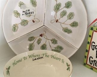 Lenox Holly Berry divided plate and bowl