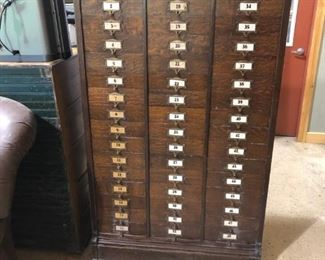 48 slot cabinet originally from Wallace Armor Hardware store in Schenectady, NY