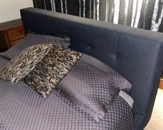 QUEEN SIZE GRAY UPHOLSTERED BED FRAME WITH MATTRESS