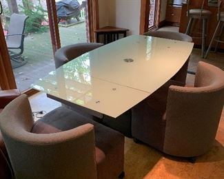 """EXPANDABLE GLASS TABLE WITH 4 CHAIRS FROM HILLSIDE  TABLE EXPENDED 39.5""""W x 71""""L x 29.5""""H TABLE 39.5""""L x 39.5""""W x 29.5""""H"""