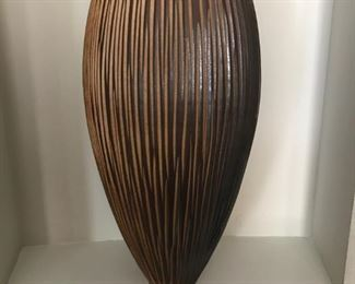 Designer Ginger Jar and matching vase.  This rustic elegance has texture and shape similar to a tribal drum.