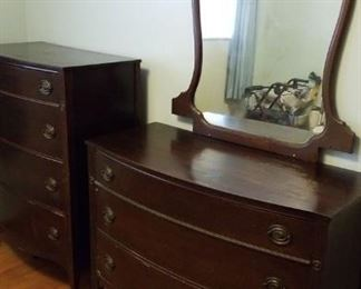 Dresser and cabinet set, Early 1900s Cherry wood
