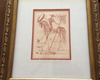 Dali original etching.  Certified authenticity paperwork