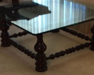 Uniquely Beautiful glass (thick quality glass) top  coffee table. Excellent condition.