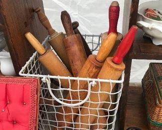 vintage rolling pins, vintage cake pans, muffin tins, copper ware