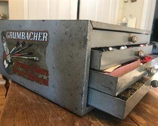 fun advertising art, vintage advertising, grumbacher supply chest