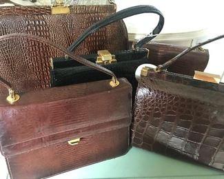vintage alligator bags, skin bags, vintage 50's purses