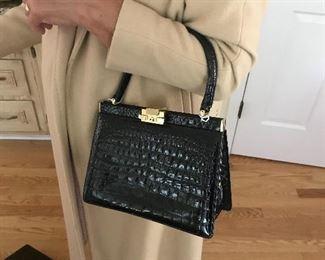 vintage alligator handbag, mint condition, 1950's finery
