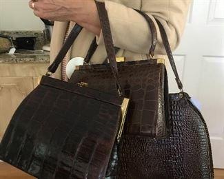 Alligator, crocodile, snake, eel vintage handbags
