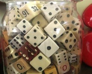 Jar of vintage dice, fantastic collection