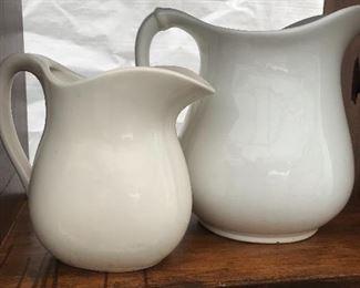White English ironstone, great for fliers,kitchen storage vessels, wonderful white decor, white pitchers
