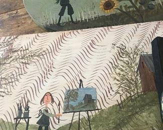 Local folk artist, several pieces, hand painted folk art, fun wall art, folk artist from illinois