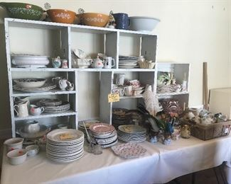 Collection of wonderful dishes,transferware, ironstone, Pyrex mixing bowls, kitchenware galore, 1950 retro kitchen, large collection of dishes, variety of colors of transferware