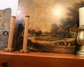 Vintage wall art, pictures, bobbins for candleholders, lots of wall art