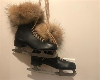 Skates, ice skates embellished with fir, Christmas decor, ice skates,