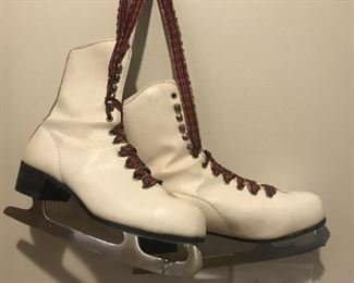 Vintage skates with red plaid lining, Christmas decor, craft project, holiday decor for the winter