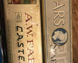 Vintage pencil boxes, tins for pencils, ephemera, vintage tins, faber castel advertising piece