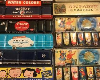 Lots of vintage watercolor paints, fun for art projects, alter into art, parang paints, artists, paint pans