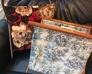 French toile knitting bag, floral needlepoint bag, floor storage, great for crafts, craft basket