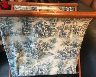 French patterned needlepoint or knitting caddy, knitting basket