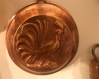 Rooster copper molds, copper ware, kitchen tools, copper for the French look, roosters are good luck