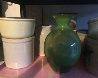 Vases, garden rocks, ceramics, vintage pots