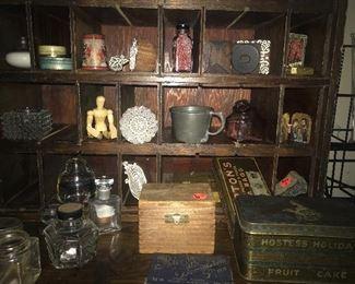 Small vintage items, tiny bottles, antique miniatures