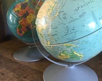 Globes, vintage globes,old globes, wonderful selection