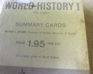 History flash cards, ephemera,