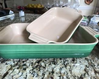 Green brand new le creuset casserole dish set of two
