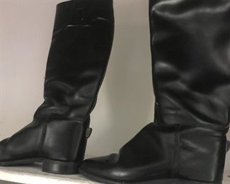 Black leather English riding boots