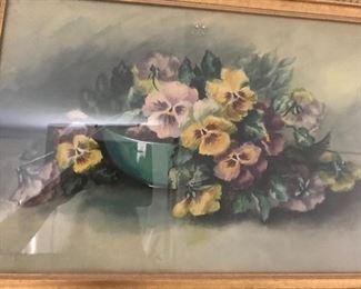 Pansies in a vintage frame