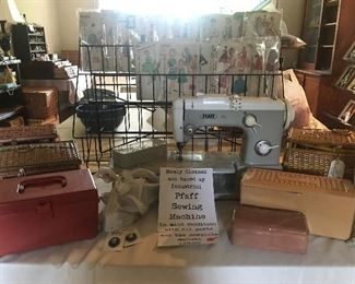 Pfaff vintage industrial sewing machine, sewing boxes filled with supplies, hundreds of very vintage patterns