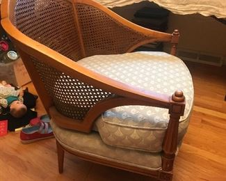 Wonderful cane side chairs. Lovely condition with grey upholstery,