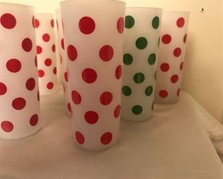 Let's do the polka, wonderful vintage Tom Collins tall glasses, retro bar ware, vintage bar ware, bottoms up at our sale